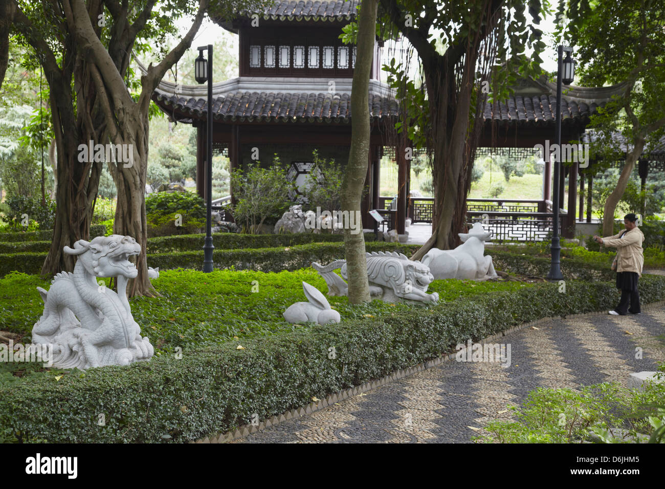 Chinese Zodiac statues in Kowloon Walled City, Kowloon, Hong Kong, China, Asia Stock Photo