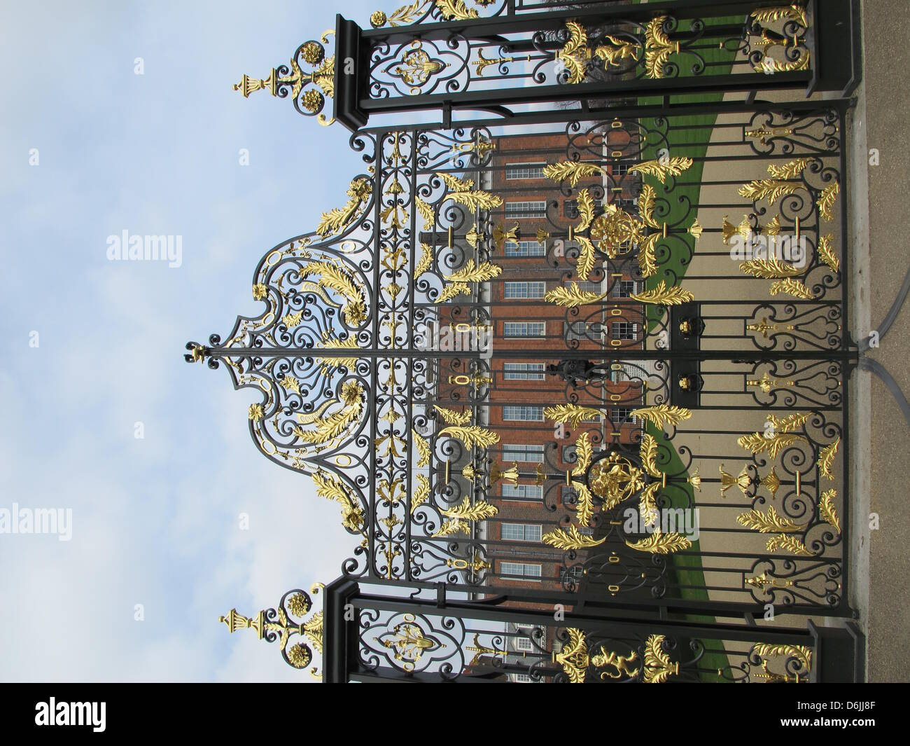 The gates of Kensington Palace is pictured in London, GreatBritain, 20 March 2012. Kensington Palace was the - Stock Image