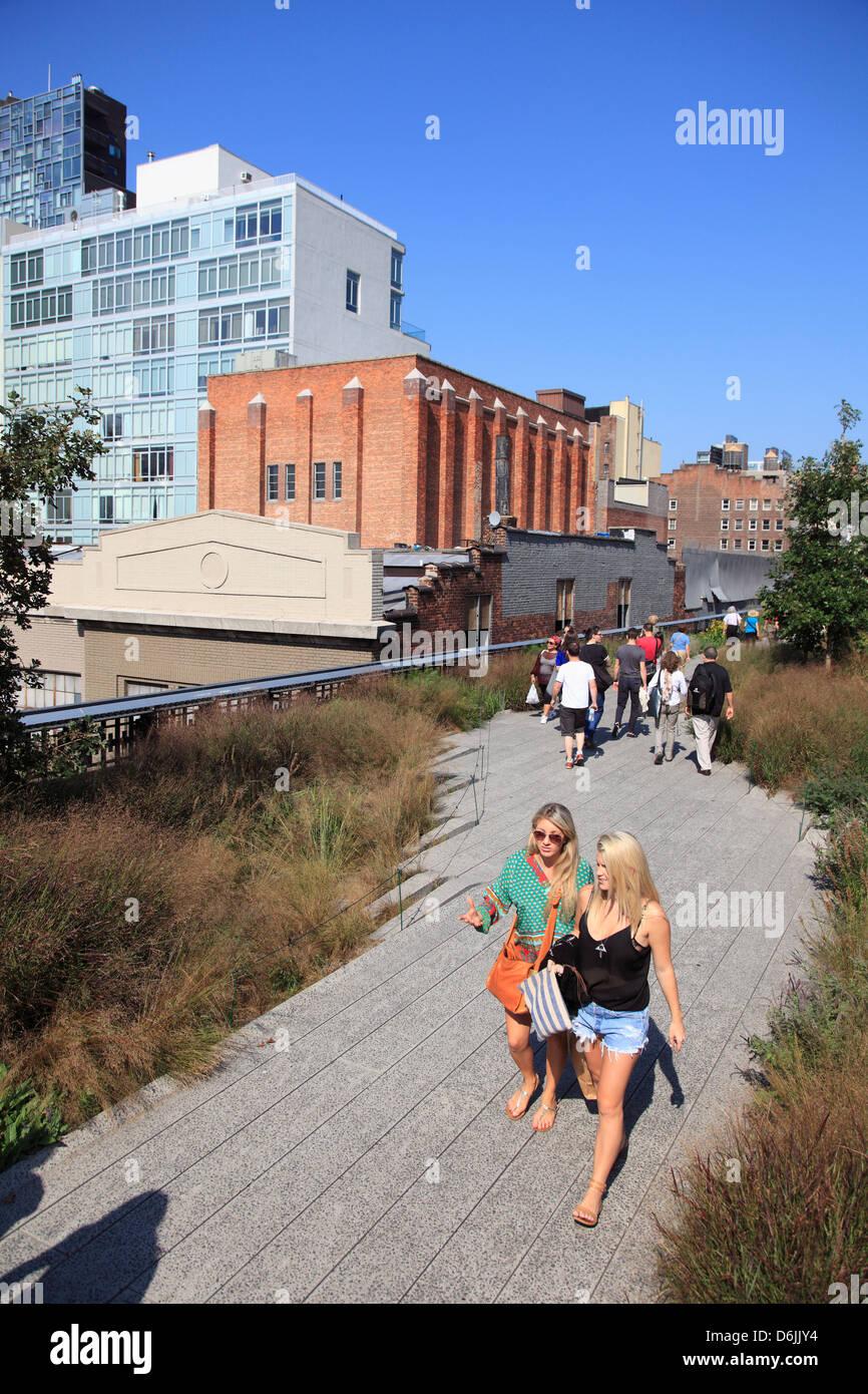 High Line Park, elevated public park on former rail tracks, Manhattan, New York City, United States of America, - Stock Image