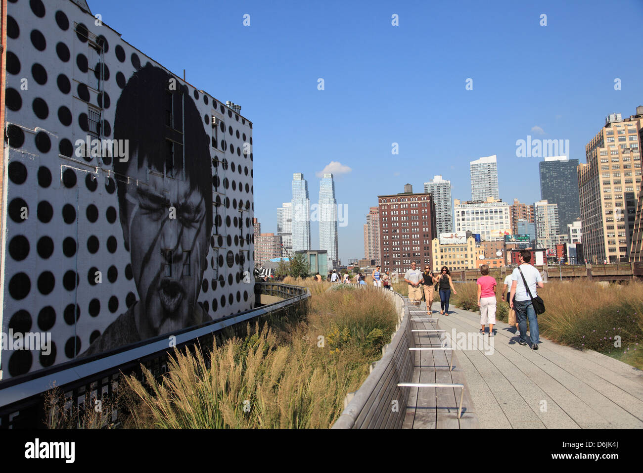 High Line Park, elevated public park on former rail tracks, Manhattan, New York City, United States of America, - Stock Image