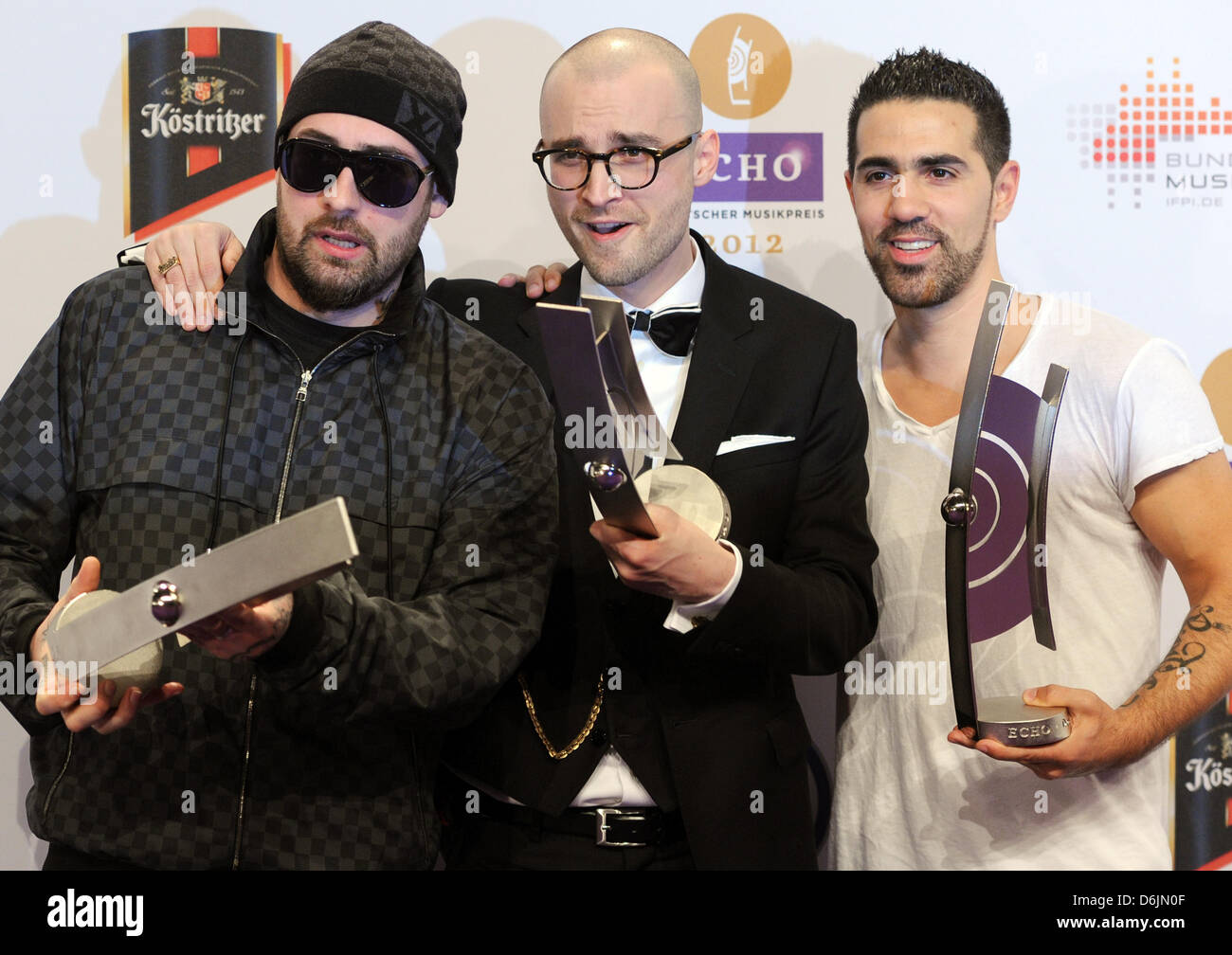 German artists Sido (L-R), Specter and Bushido pose with the 2012