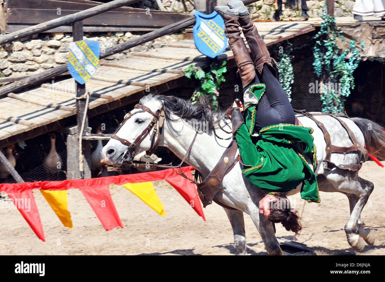 Medieval horse display and show - the 'Legend of the Knights' at Provins town, south of Paris, France. - Stock Image