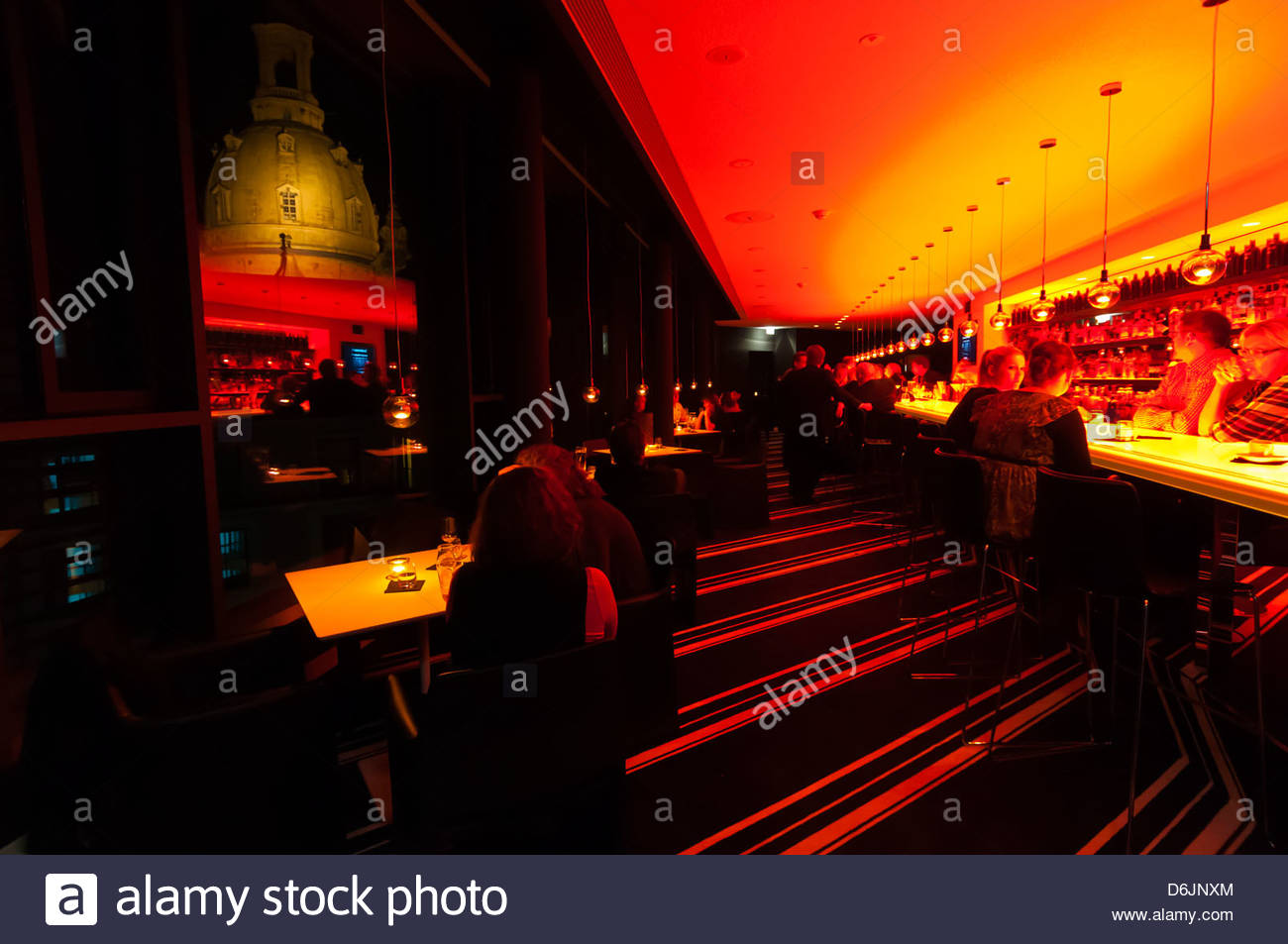The Sky Bar atop the Innside by Melia Hotel with the Frauenkirche (church) in background, Dresden, Saxony, Germany Stock Photo