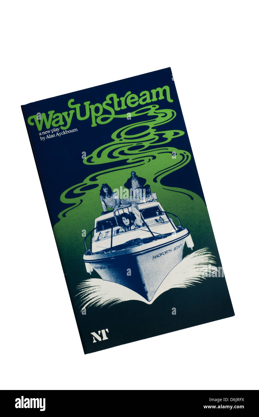 Programme for the 1982 production of Alan Ayckbourn's Way Upstream at the Lyttelton Theatre. - Stock Image