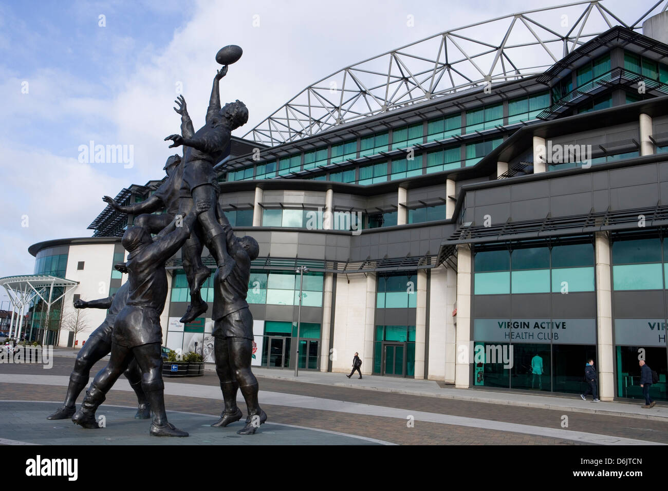 twickenham rugby stadium and rugby sculpture - Stock Image