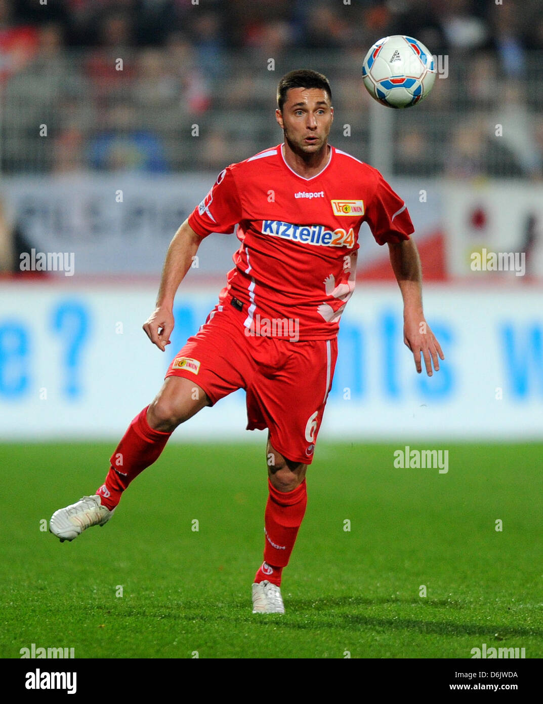 Berlin's Marc Pfertzel plays the ball during the German second league match between FCUnion Berlin and - Stock Image