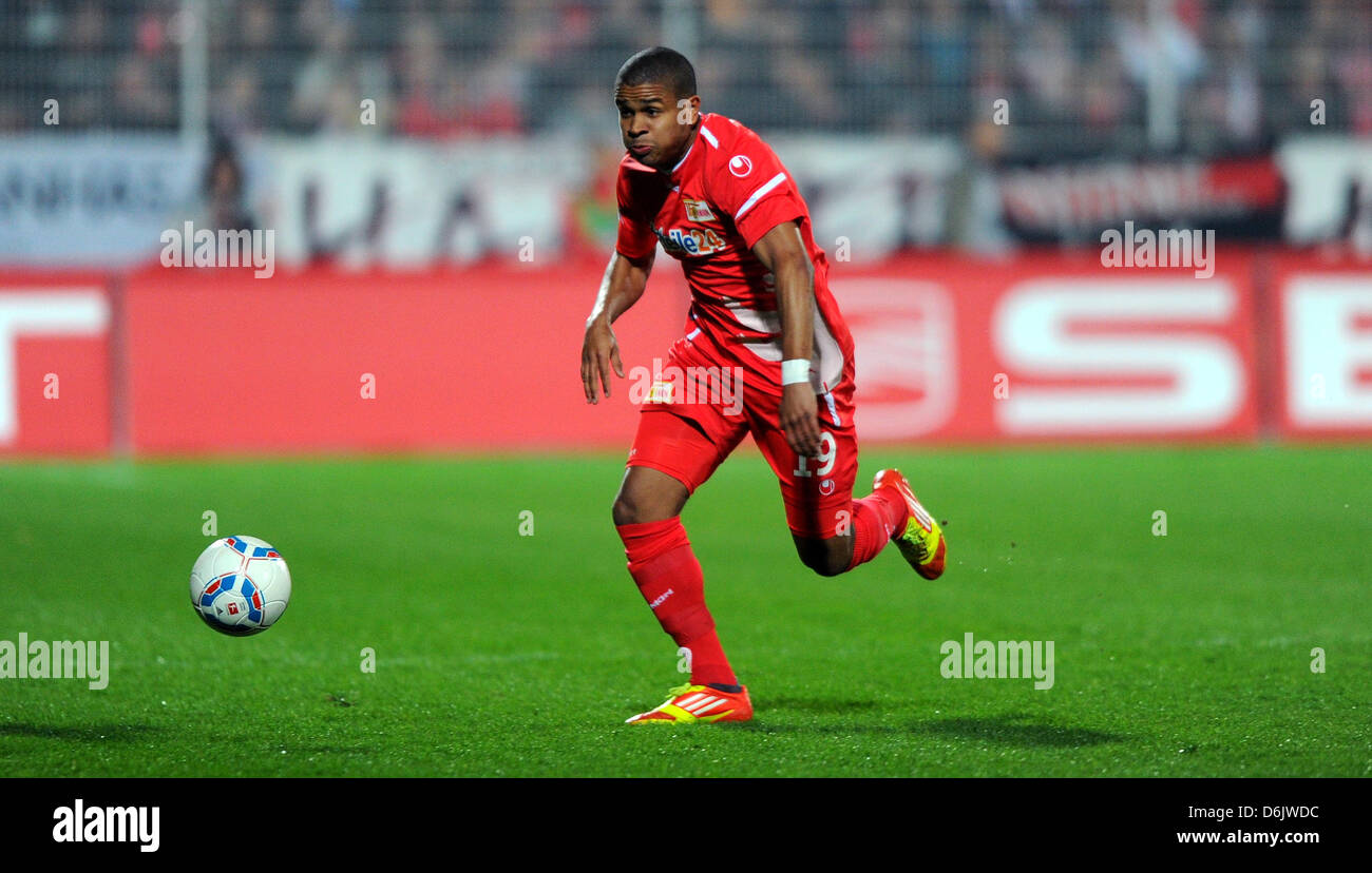 Berlin's Chinedu Ede plays the ball during the German second league match between FCUnion Berlin and Eintracht - Stock Image