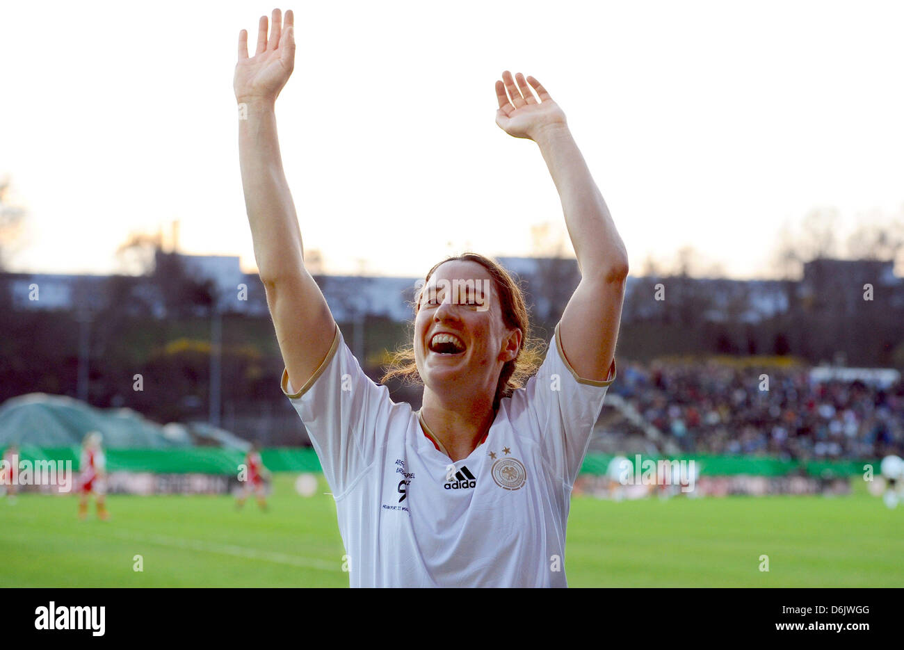 FRANKFURT AM MAIN, GERMANY - MARCH 27: Birgit Prinz celebrates during the Birgit Prinz farewell match between Germany - Stock Image