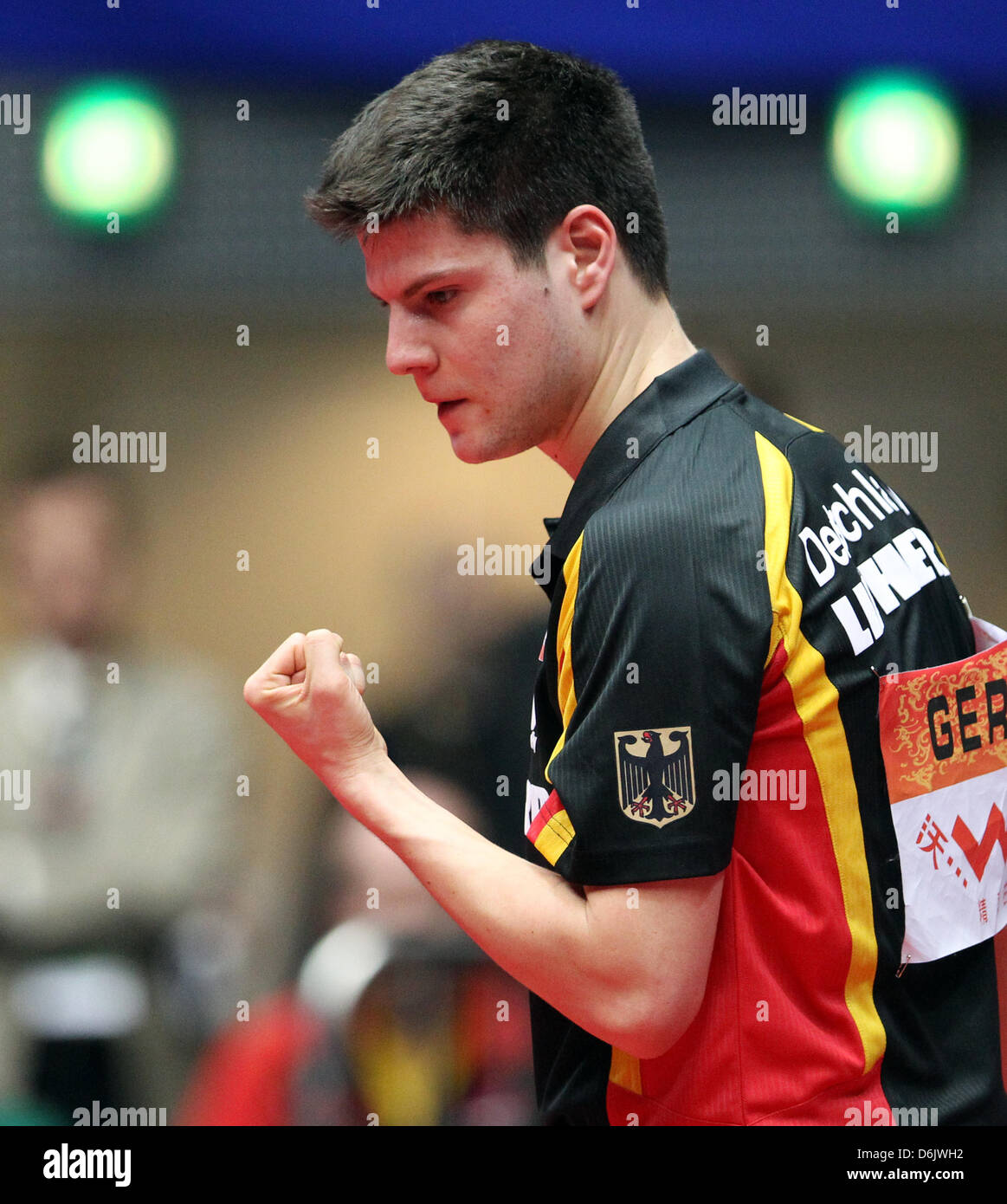Germany's Dimitrij Ovtcharov celebrates his victory of the men's group B match against Freitas from Portugal - Stock Image