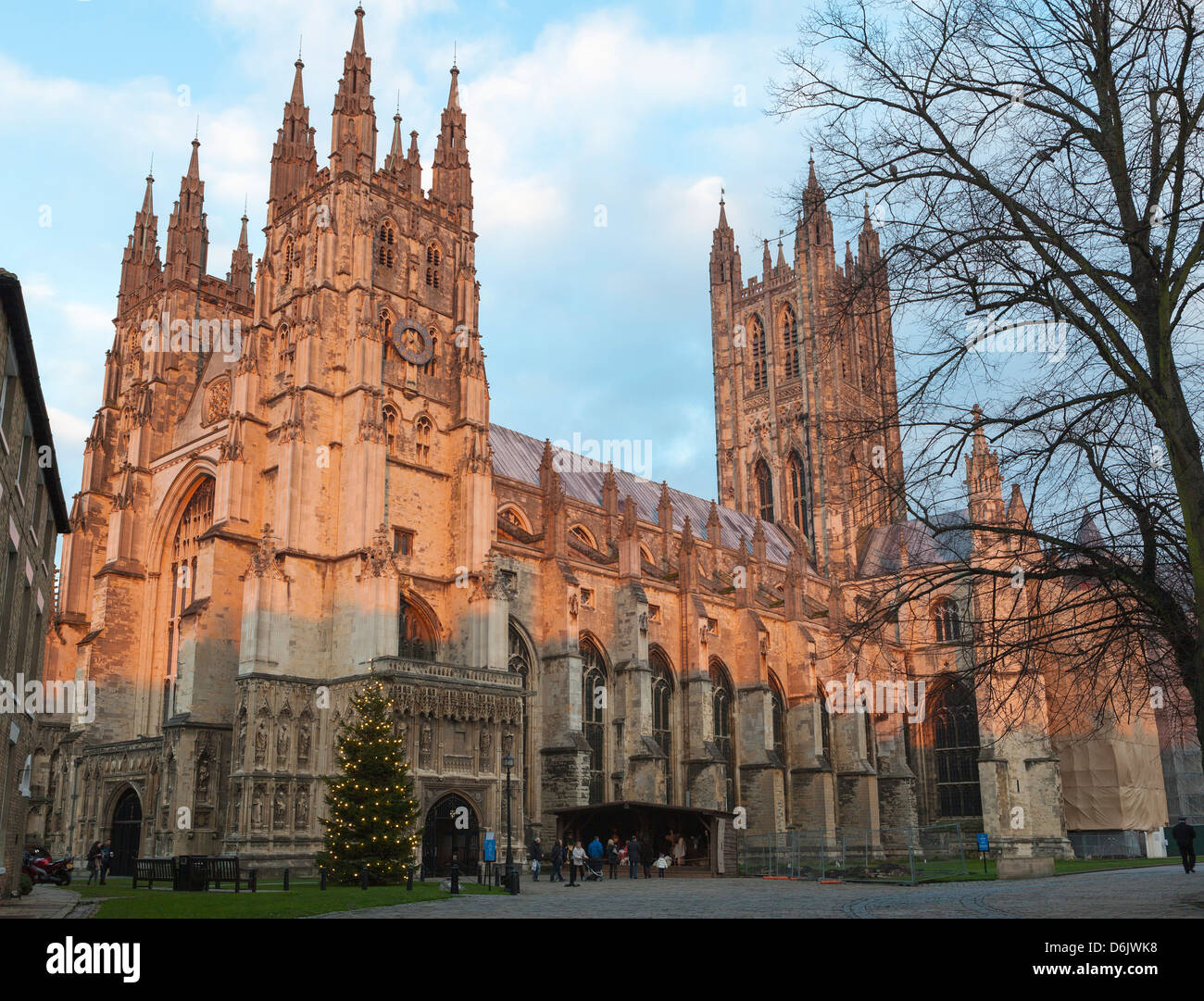 Canterbury Cathedral, UNESCO World Heritage Site, with nativity diorama at dusk, Canterbury, Kent, England, UK - Stock Image