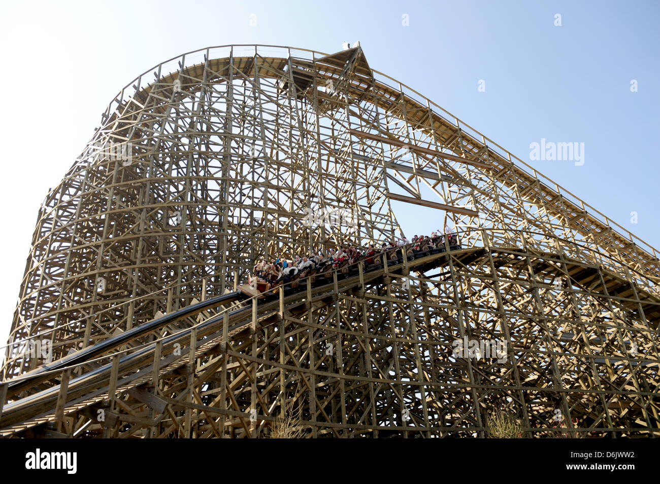 A car races down the new wooden roller coaster 'Wodan' at Europa-Park in Rust, Germany, 28 March 2012. The - Stock Image