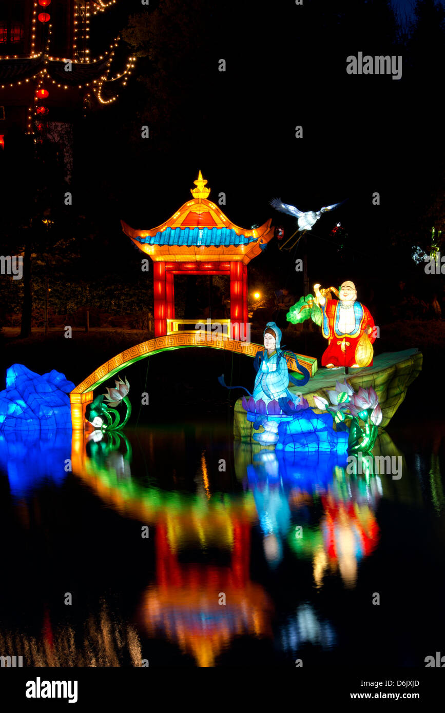 Chinese lanterns at the Magic of Lanterns Festival at the Montreal Botanical Garden, Montreal, Quebec Province, - Stock Image