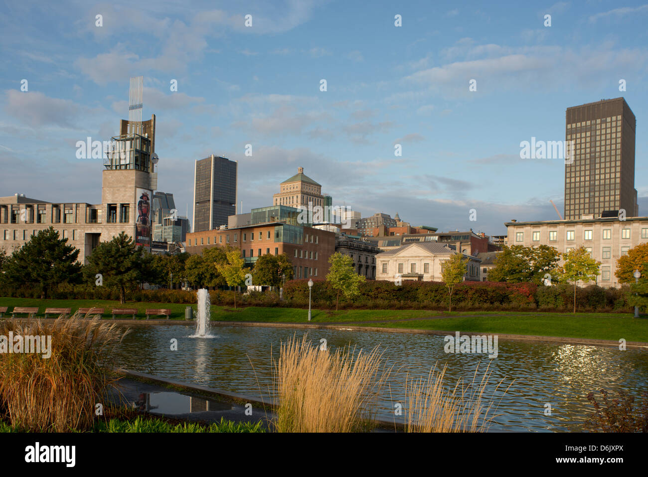 An early morning view of the Montreal skyline from the Parc des Ecluses, Montreal, Quebec Province, Canada, North - Stock Image
