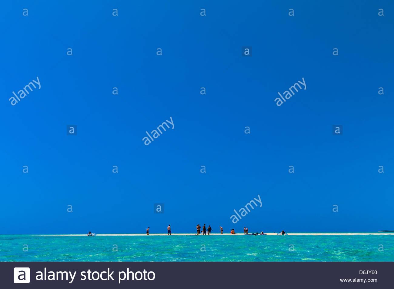 A sandbar in the ocean off Serenity Bay, Castaway Cay (Disney's private island), The Bahamas - Stock Image