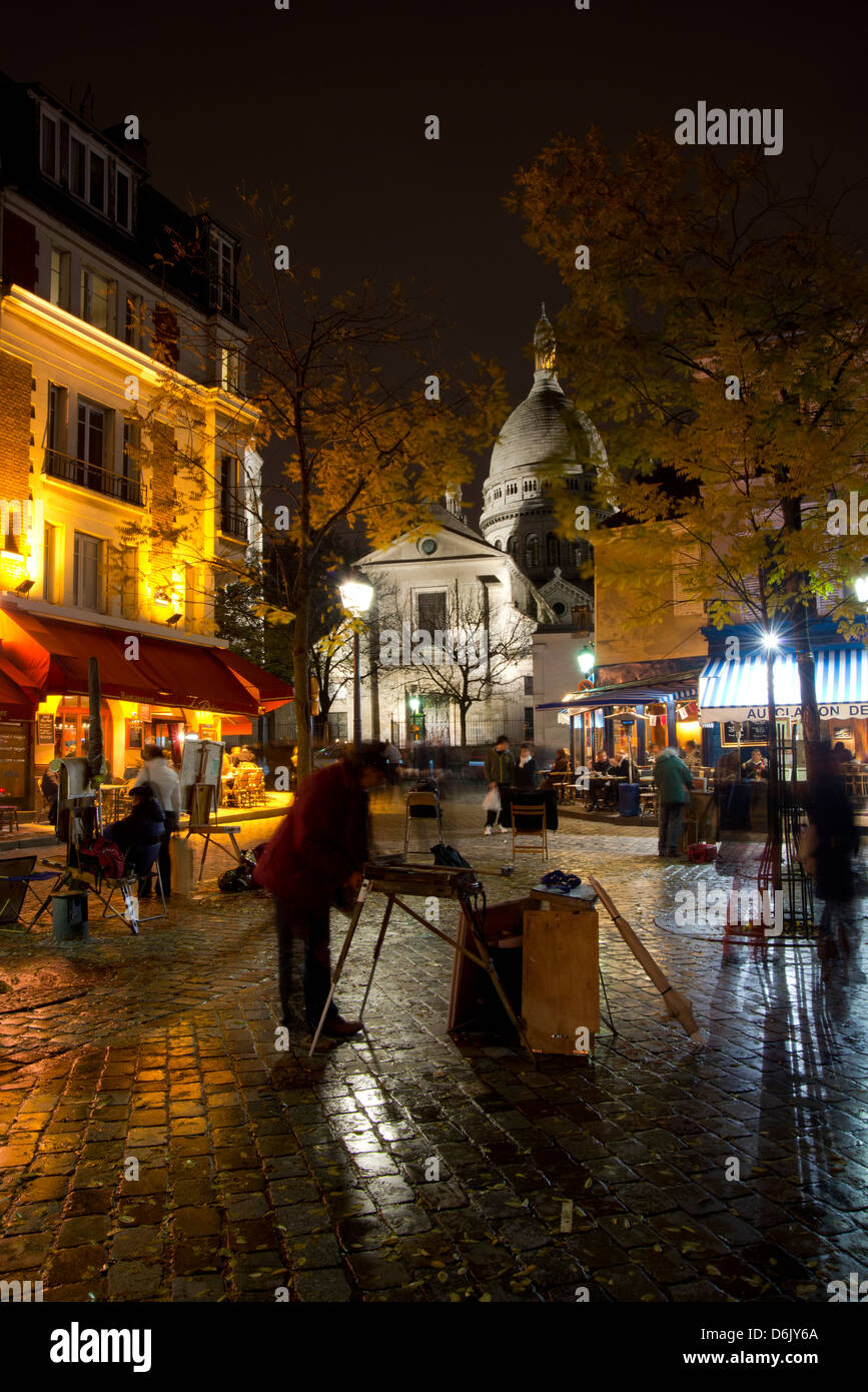 The Sacre Coeur and Montmartre on a rainy night, Paris, France, Europe - Stock Image