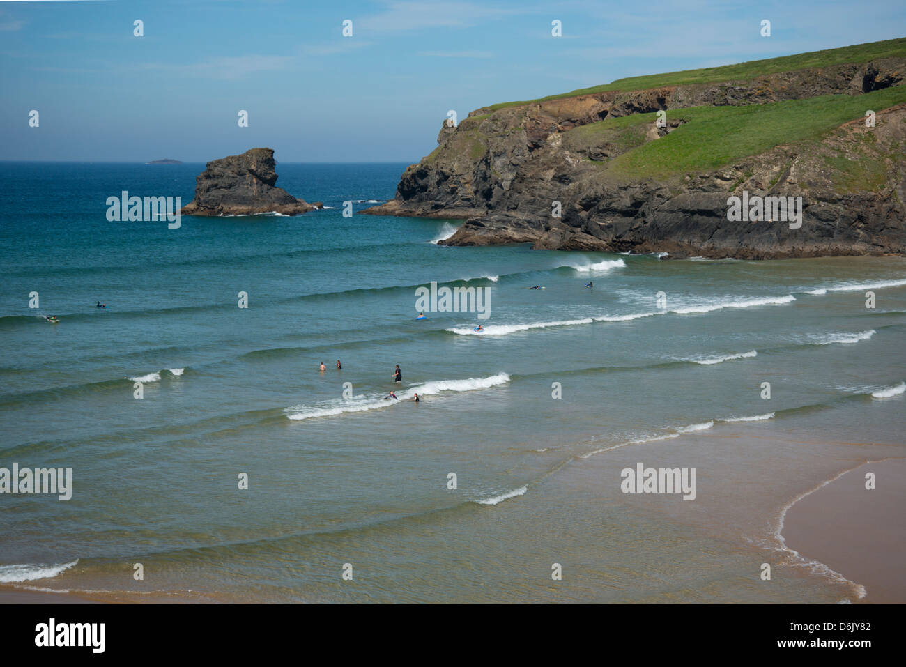 Swimmers in the water at Porthcothan Bay, Cornwall, England, United Kingdom, Europe - Stock Image