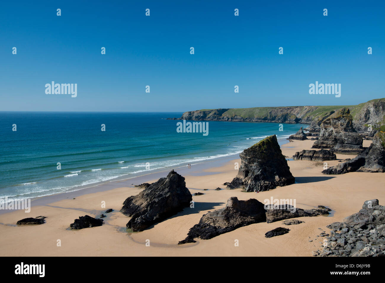 A view of The Bedruthan Steps, Cornwall, England, United Kingdom, Europe - Stock Image