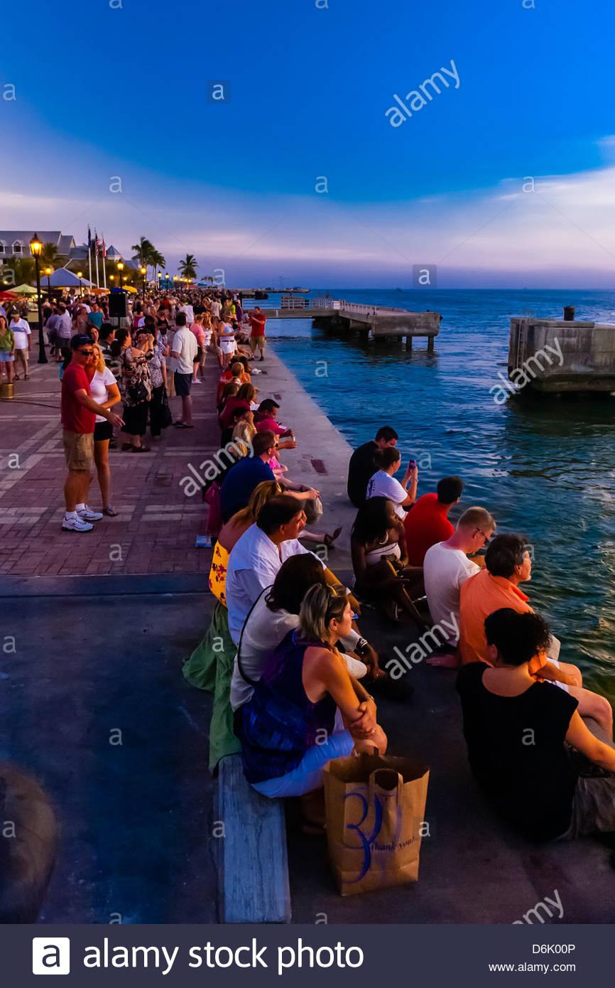 Sunset celebration, Mallory Square, Key West, Florida Keys, Florida USA - Stock Image