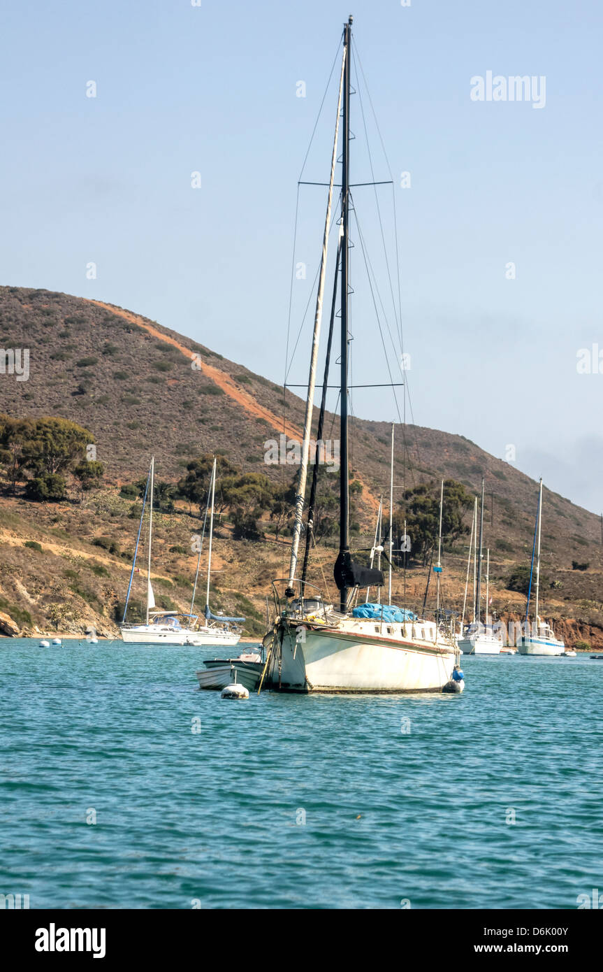 Sailboat moored at Santa Catalina Island in the quiet bay of Catalina Harbor - Stock Image