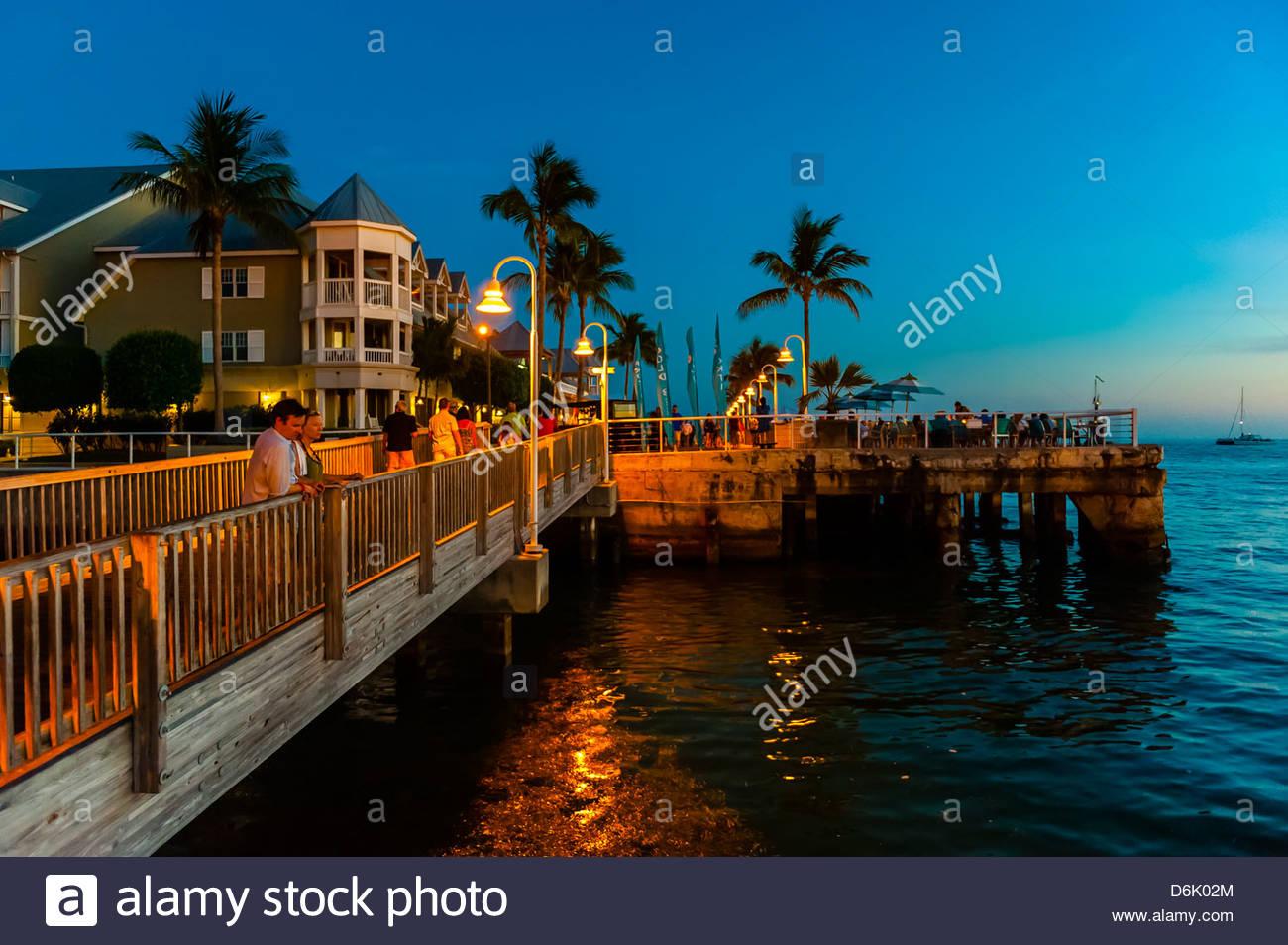 Sunset celebration, Mallory Square, Key West, Florida Keys, Florida USA Stock Photo