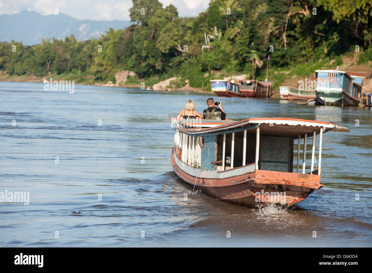 Boat trip on Mekong River, Luang Prabang, Laos, Indochina, Southeast Asia, Asia - Stock Image