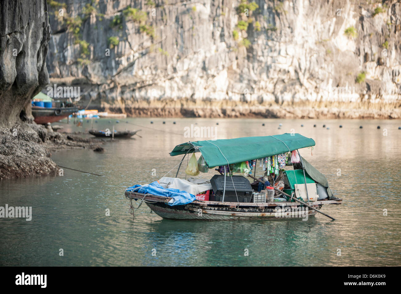 Floating shop in Halong Bay, UNESCO World Heritage Site, Vietnam, Indochina, Southeast Asia, Asia - Stock Image