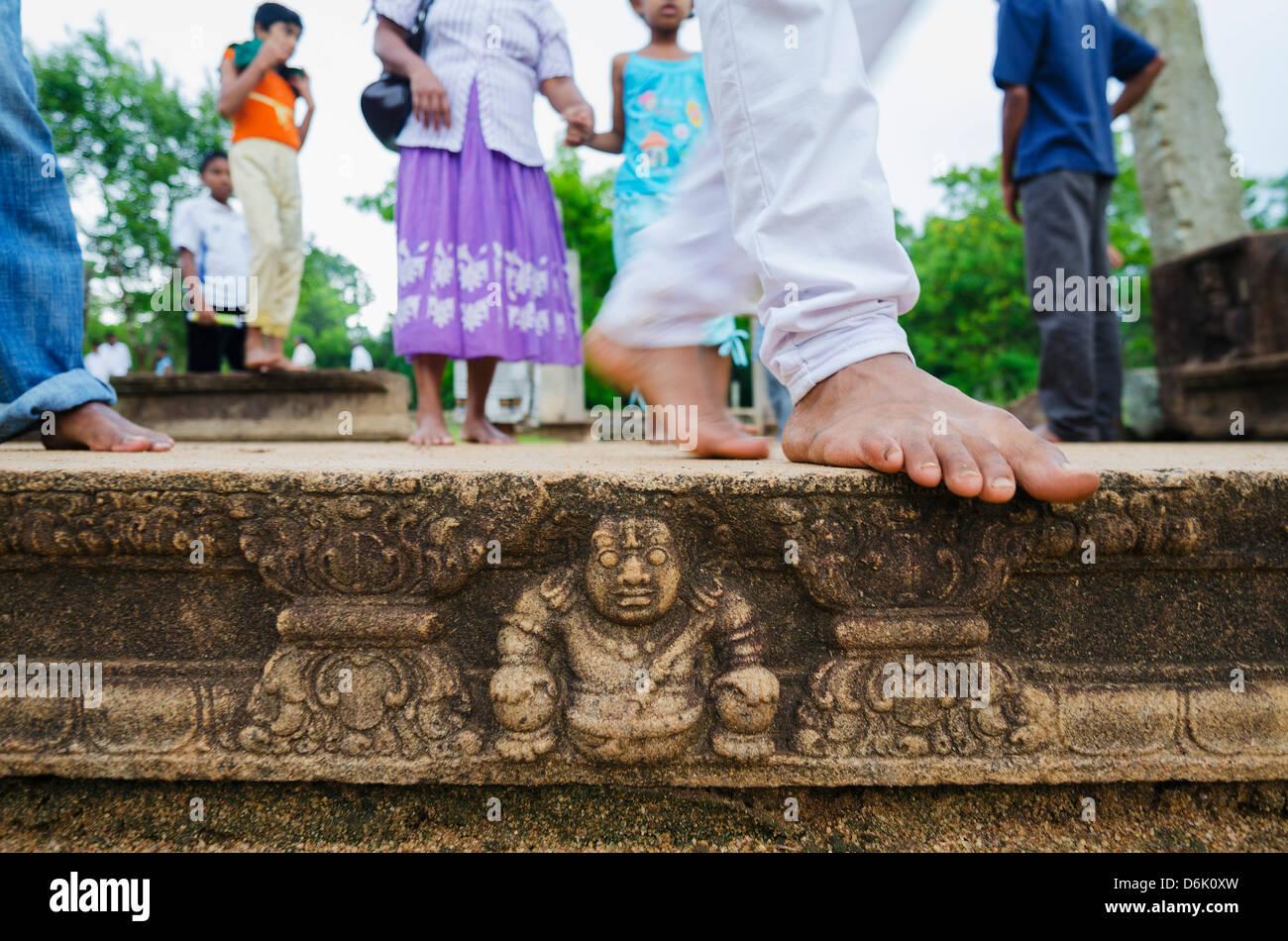 Carved steps detail, Mahasens Palace, Anuradhapura, UNESCO World Heritage Site, Sri Lanka, Asia - Stock Image