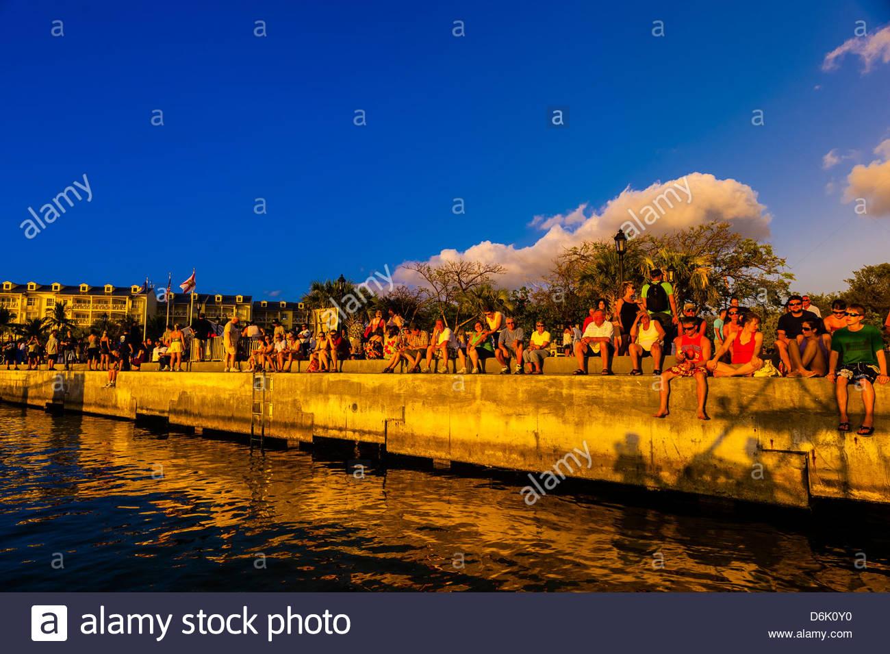 People gathering at Mallory Square for the daily Sunset Celebration, Key West, Florida Keys, Florida USA - Stock Image