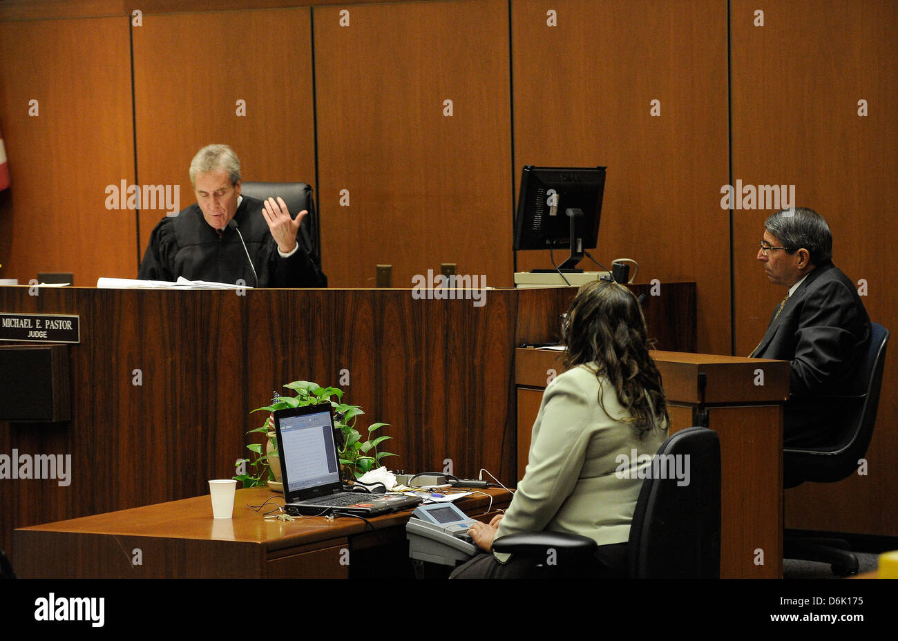 Judge Michael Pastor charges Dr. Paul White with contempt of court and fines him $1000 during the final stage of - Stock Image