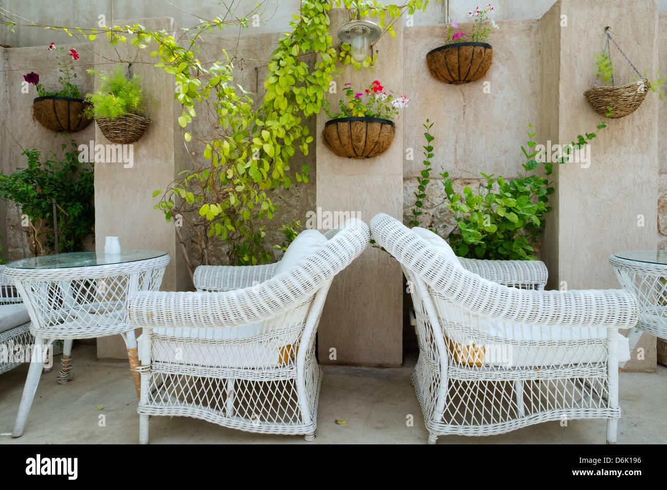 Outdoor courtyard cafe detail in historical Al Bastakiya old district in Bur Dubai United Arab Emirates - Stock Image