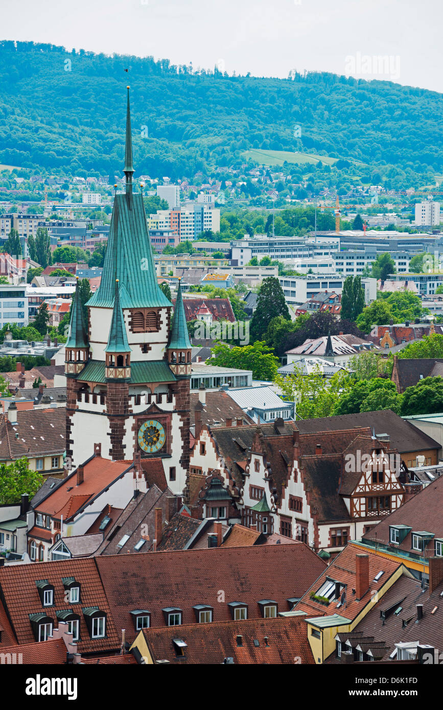 Old town city gate, Freiburg, Baden-Wurttemberg, Germany, Europe - Stock Image