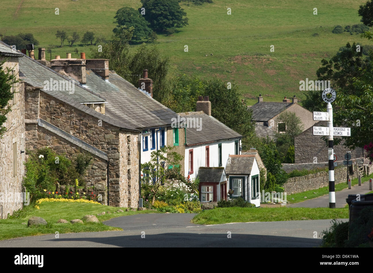 Cottages in the centre of Hesket Newmarket, John Peel Country, Cumbria, England, United Kingdom, Europe - Stock Image