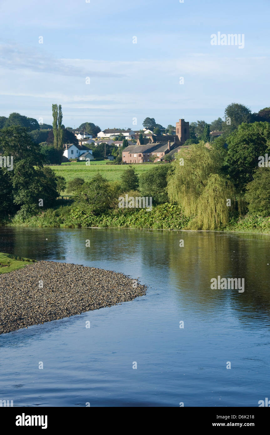 View across the River Eden to Lazonby village, Eden Valley, Cumbria, England, United Kingdom, Europe - Stock Image
