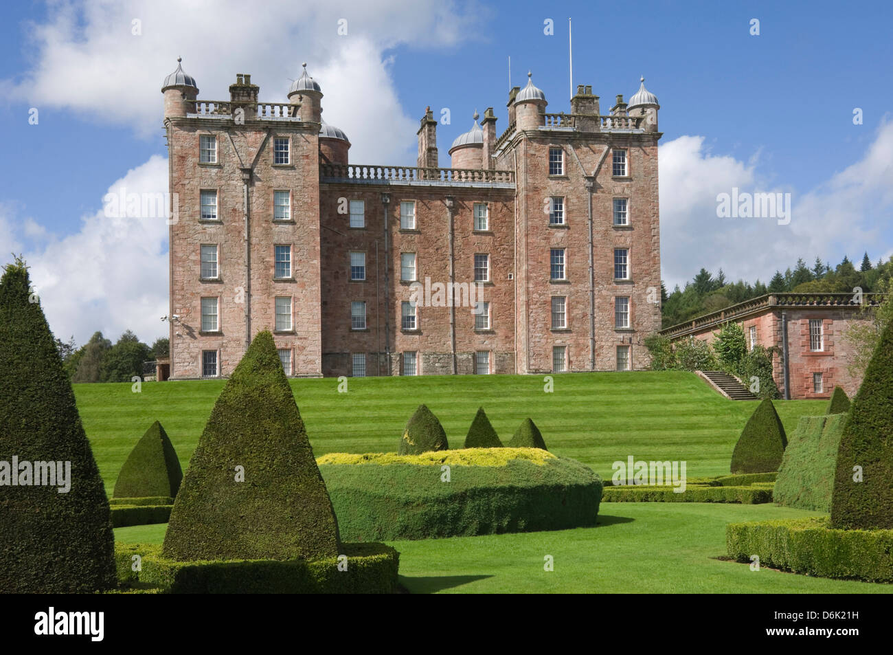 The Topiary Garden at the The Pink Palace built by the 1st Duke of Queensberry, Dumfries and Galloway, Scotland, Stock Photo
