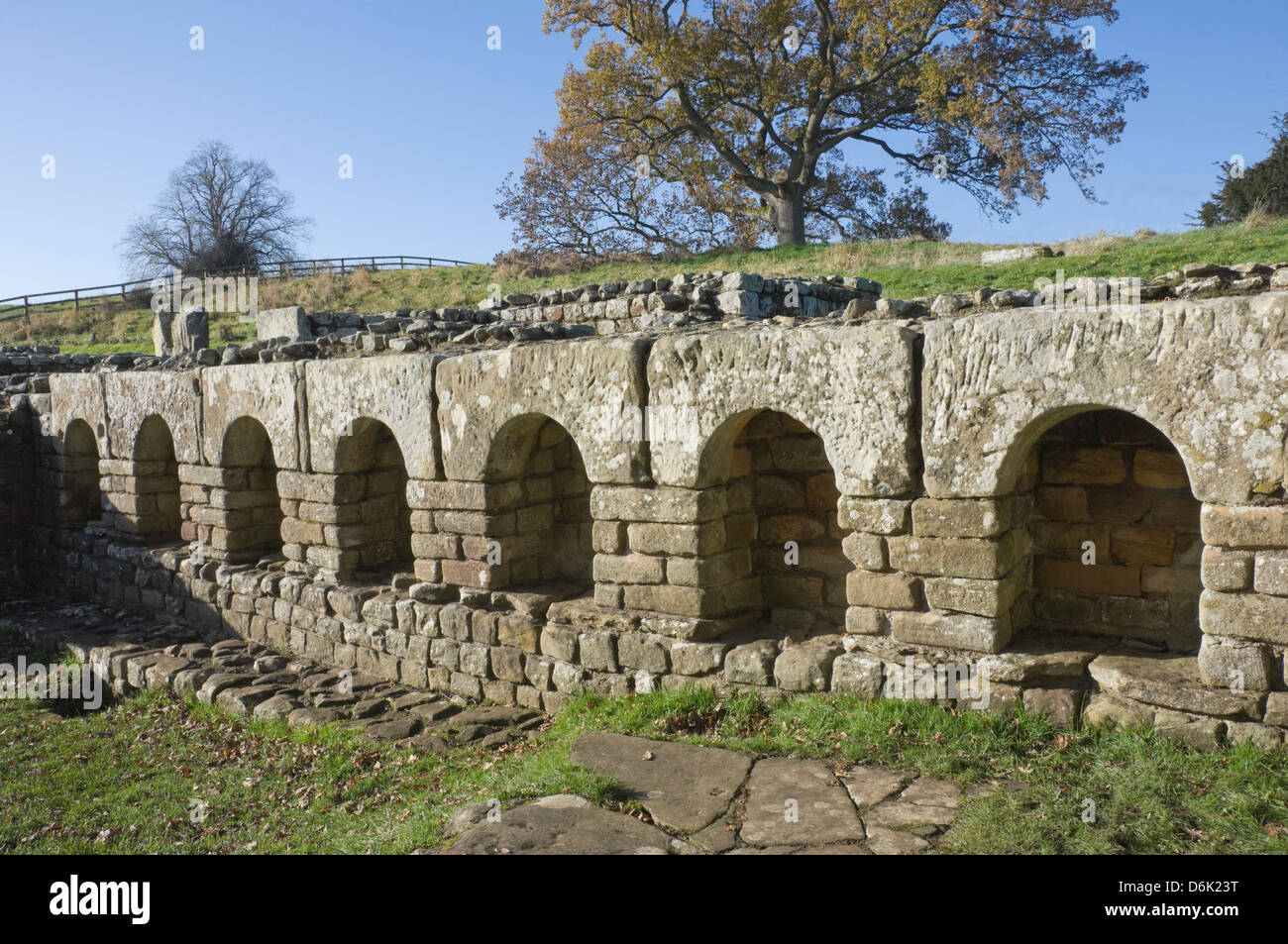 The changing room of the Roman Baths, Chesters Roman Fort, Hadrian's Wall, UNESCO Site, Northumbrian National - Stock Image