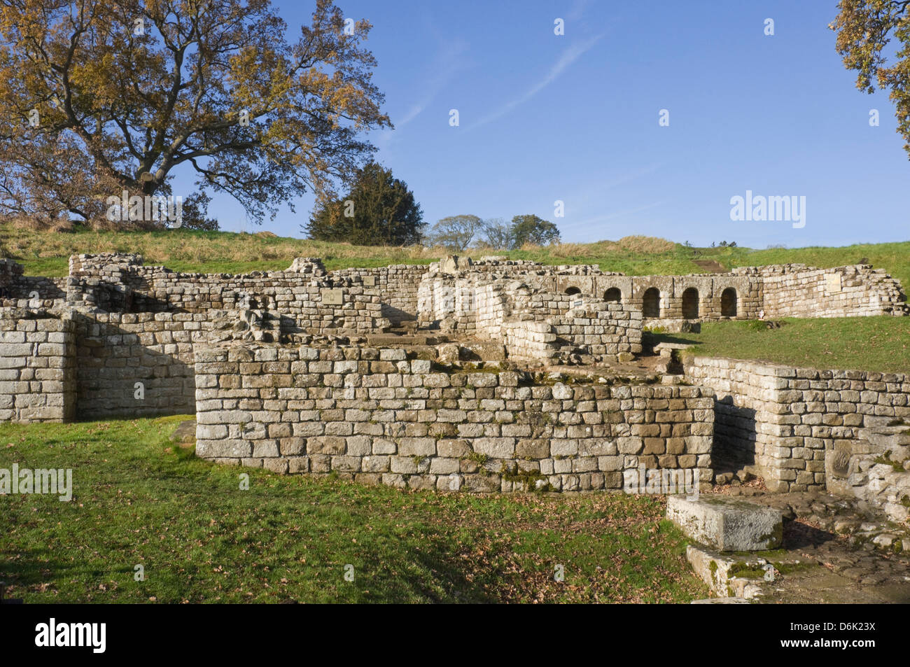 Remains of the bath site on the the River North Tyne, Hadrian's Wall, UNESCO Site, Northumbria National Park, - Stock Image