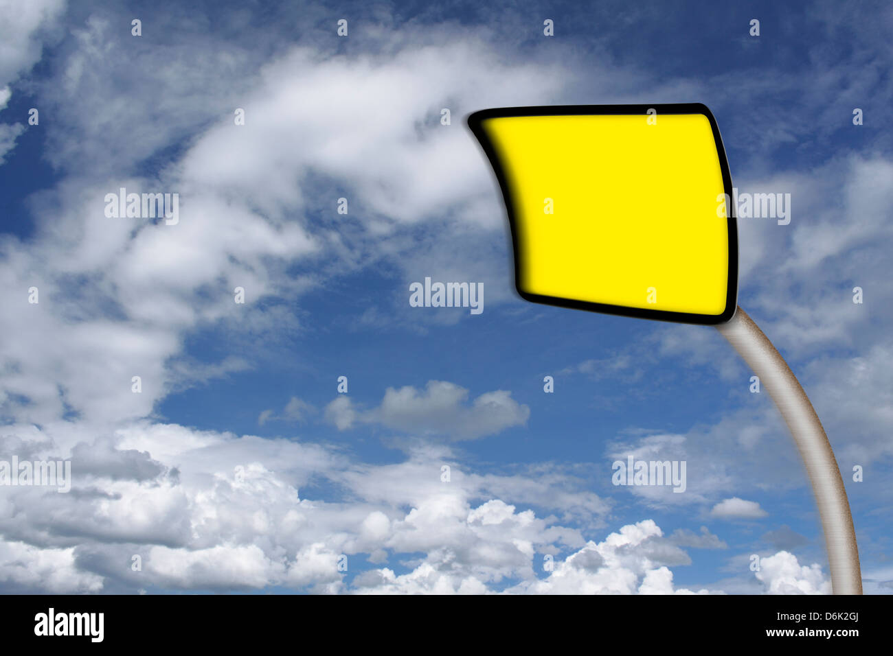 distortion traffic sign on blue sky with cloud - Stock Image