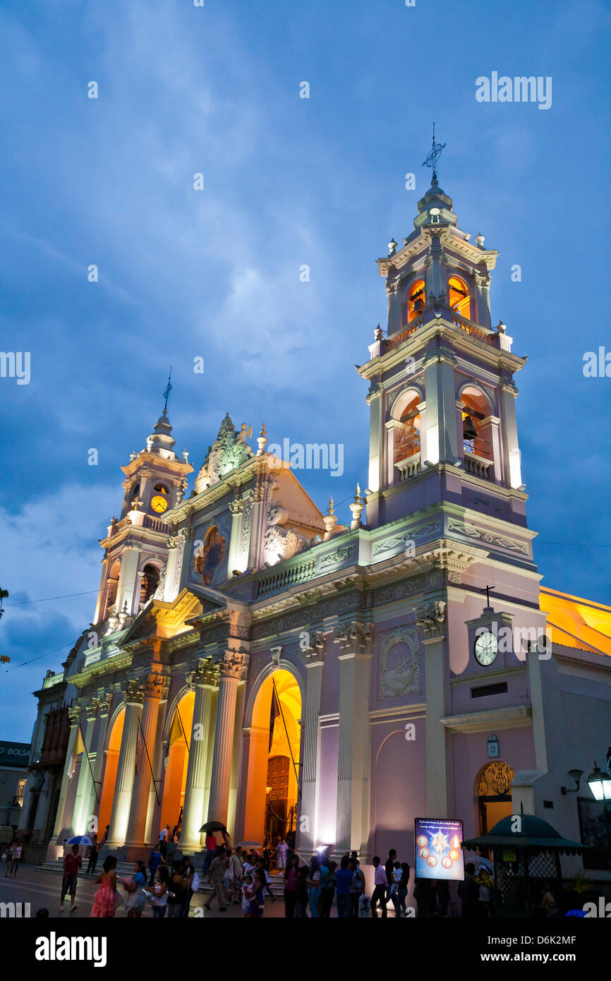 Iglesia Catedral, the main cathedral on 9 Julio Square, Salta City, Argentina, South America - Stock Image