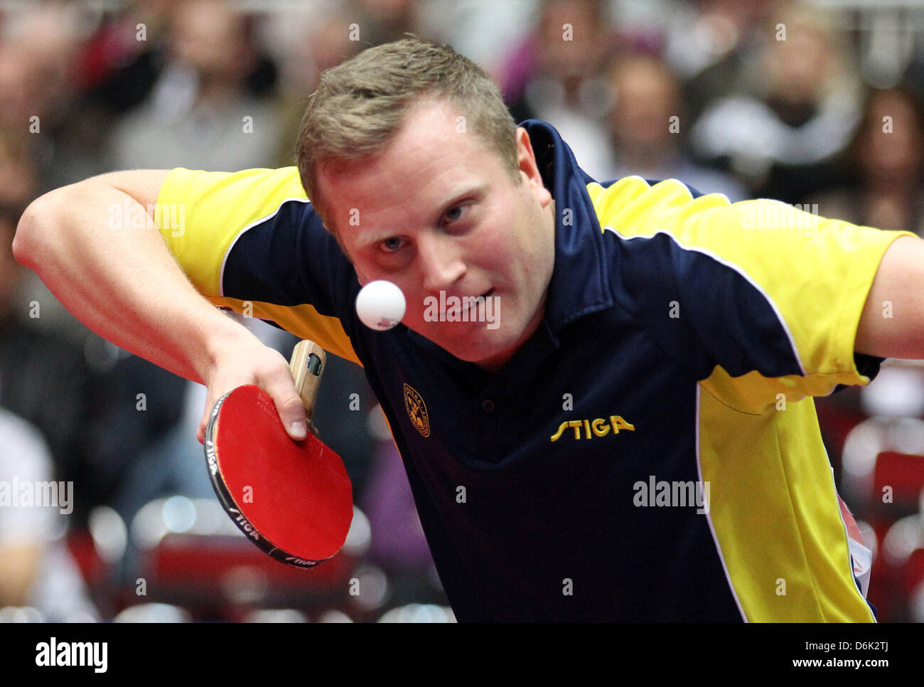 Sweden's Jens Lundqvist celebrates his during the men's quarterfinal match against Germany's Boll at - Stock Image