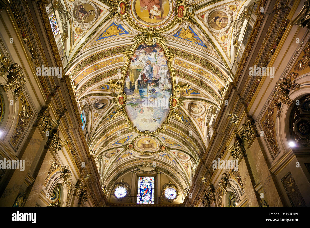 Interior of Iglesia Catedral at Plaza San Martin, Cordoba City, Cordoba Province, Argentina, South America - Stock Image