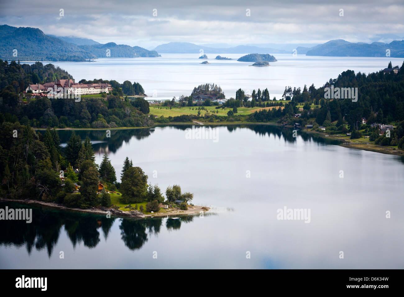 View over Nahuel Huapi lake and Llao Llao hotel near Bariloche, Lake District, Patagonia, Argentina, South America - Stock Image