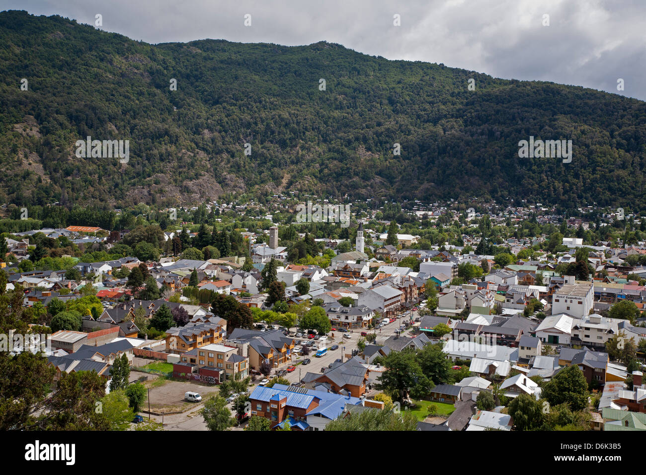 View over San Martin de Los Andes, Patagonia, Argentina, South America - Stock Image