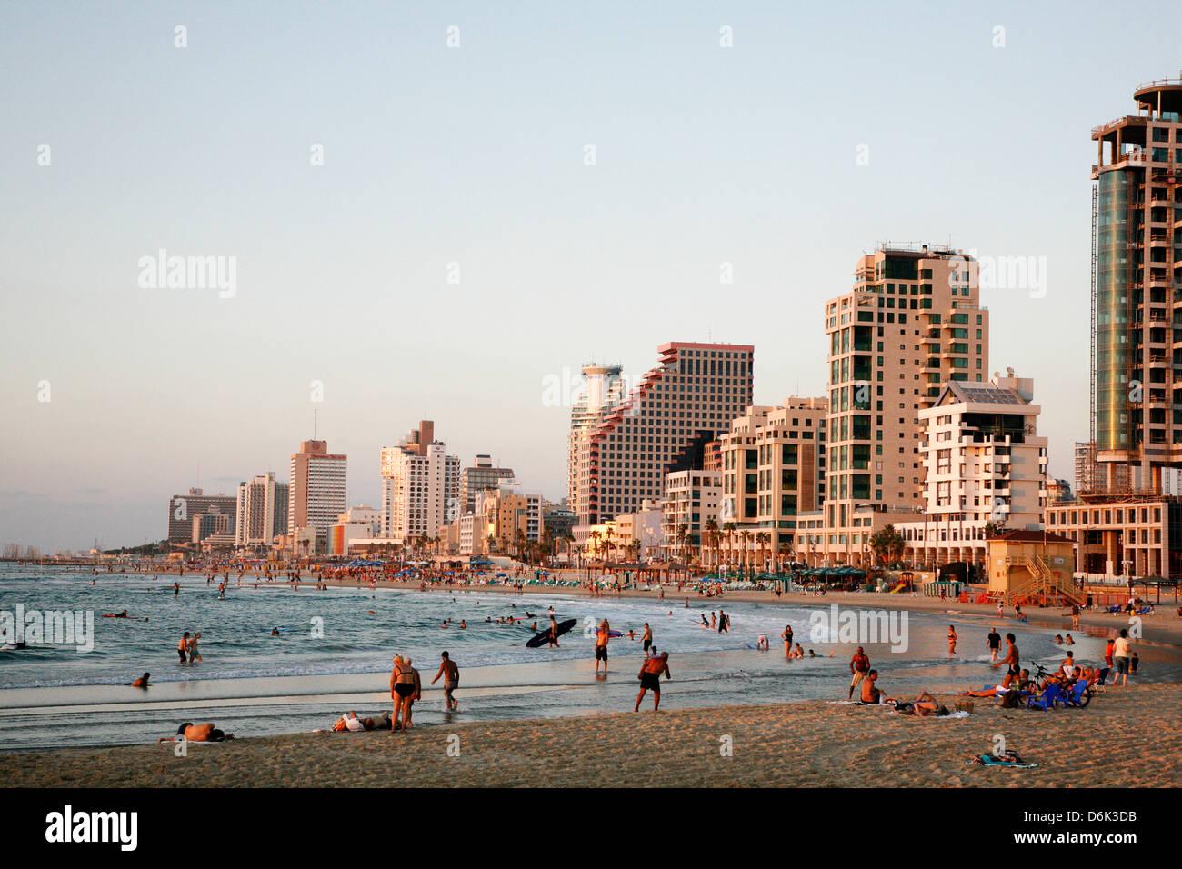 Beach, Tel Aviv, Israel, Middle East - Stock Image