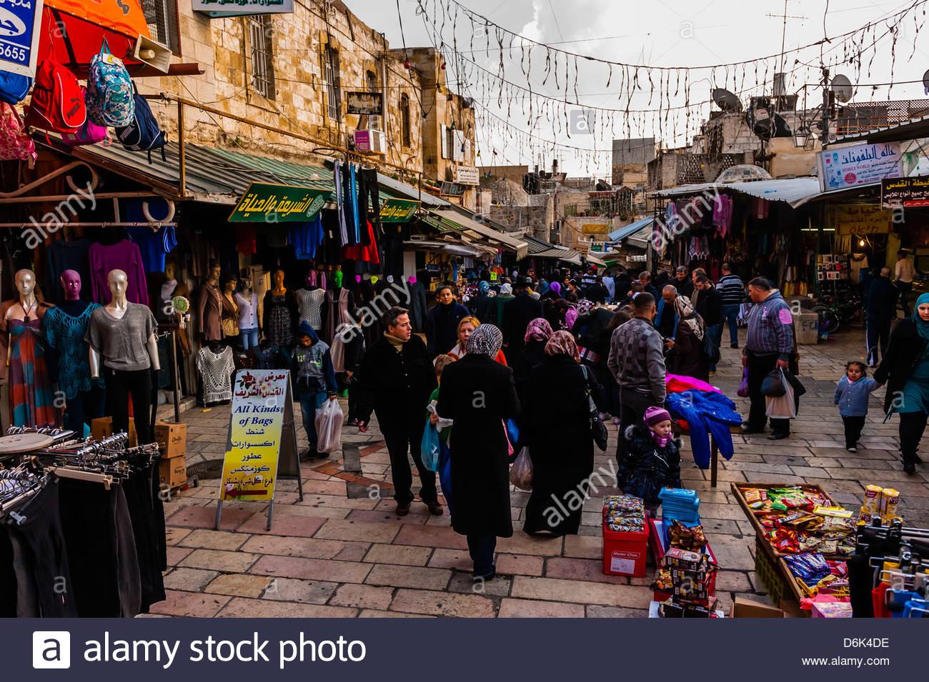 Street market on El Wad Road in the Old City, Jerusalem, Israel. - Stock Image
