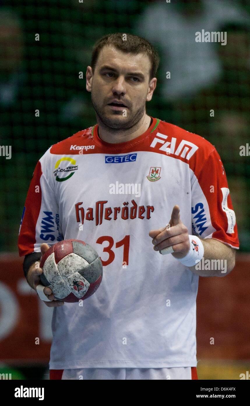 Magdeburg's Bartosz Jurecki is pictured during the handball Bundesliga match between SC Magdeburg and HSV Hamburg - Stock Image