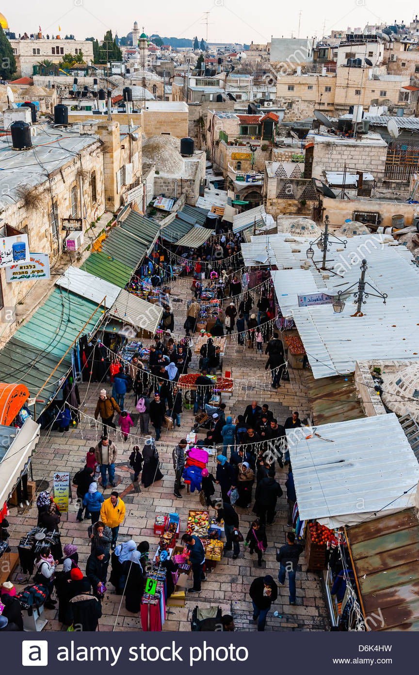 Overview of the street market on El Wad Road near Damascu Gate Jerusalem Israel - Stock Image