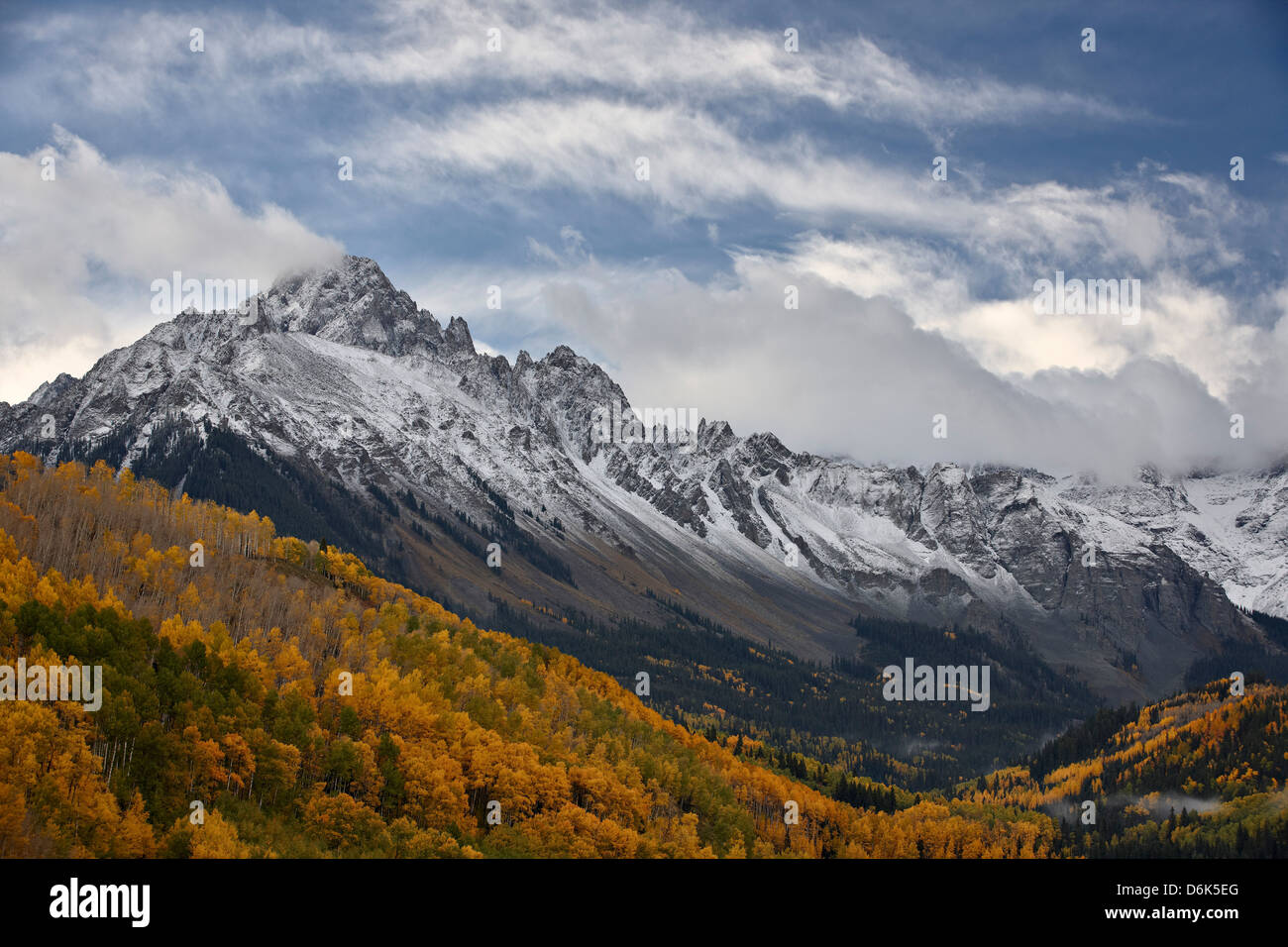 Mount Sneffels with a dusting of snow in the fall, Uncompahgre National Forest, Colorado, United States of America - Stock Image