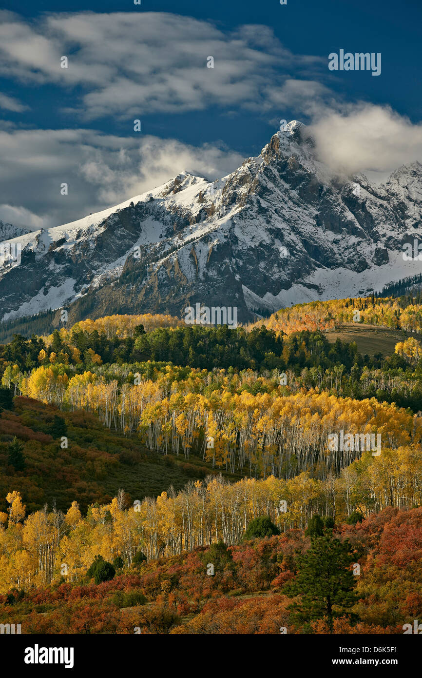 Mears Peak with snow and yellow aspens in the fall, Uncompahgre National Forest, Colorado, USA - Stock Image