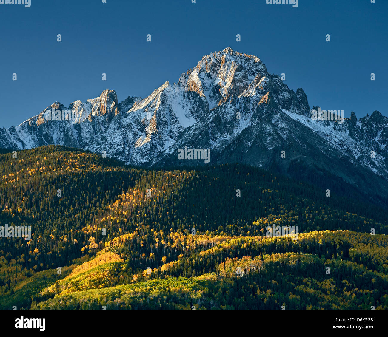 Mount Sneffels with snow in the fall, Uncompahgre National Forest, Colorado, United States of America, North America - Stock Image