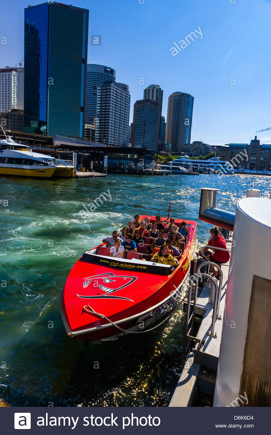 Oz Jet boating, Circular Quay, Sydney, New South Wales, Australia - Stock Image